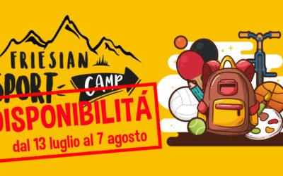 FRIESIAN SPORT CAMP – DISPONIBILITÀ dal 13 luglio al 7 agosto